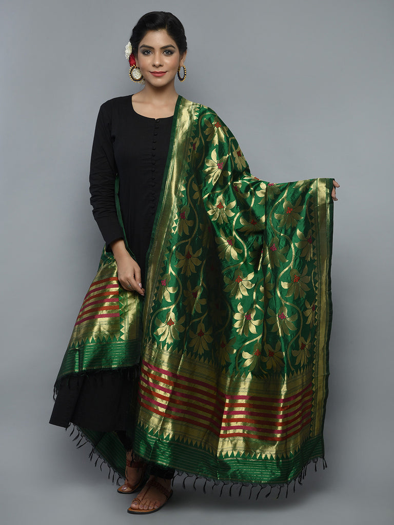 Dark Green Golden Handwoven Banarasi Dupatta