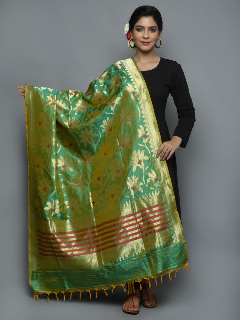 Green Golden Handwoven Banarasi Dupatta