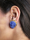 Blue Filigree Druzy Earrings
