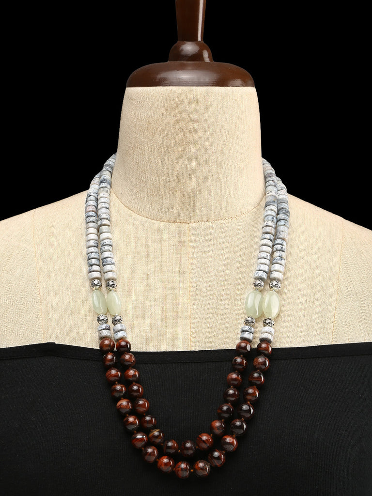 Dendritic Quartz, Red Tiger Eye and Jade Necklace