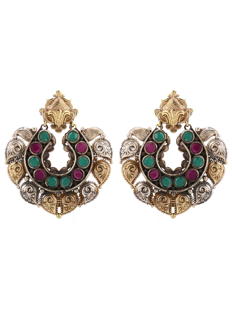 Dual Plated  with Green Purple stones  Earrings