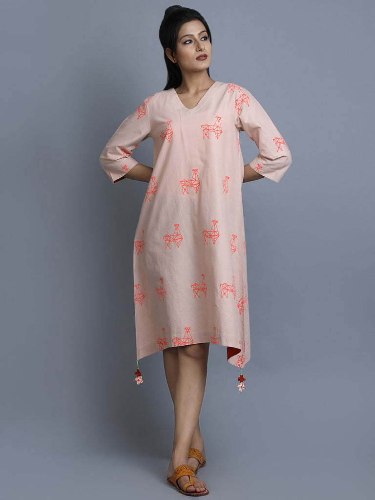 Dusty Rose Cotton Asymmetric Dress