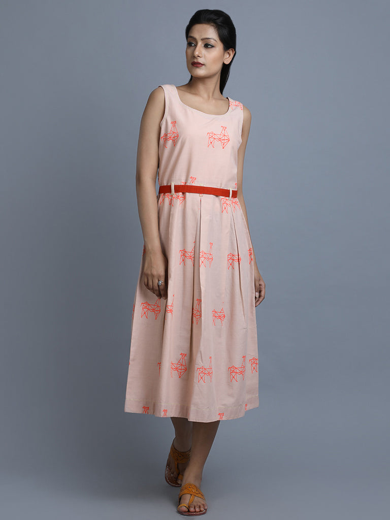 Dusty Rose Cotton Box Pleated Dress