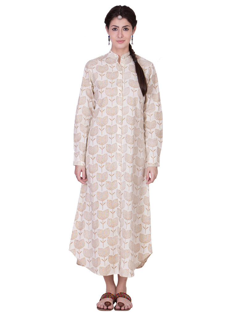 Ecru Muslin Golden Hand Block Printed Tunic