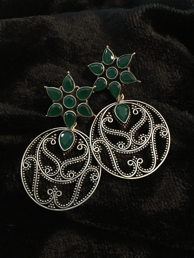 Emerald Flower with Round Hanging Silver Earrings