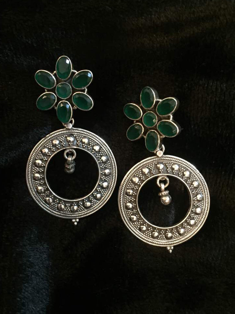 Emerald Flower with Silver Rings Earrings