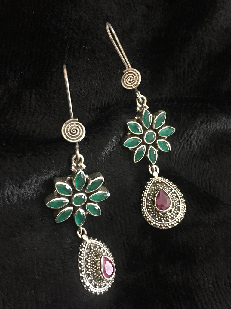 Emerald Flower with Silver Ruby Drops