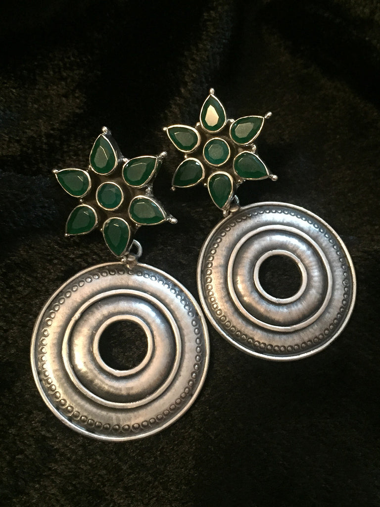 Emerald Urban Tribal Silver Earrings