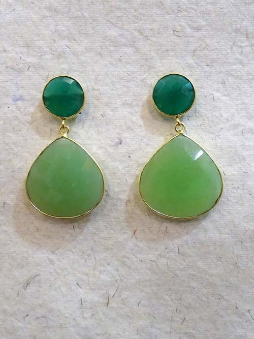 Emerald/Sea Green Heart Drop Earring