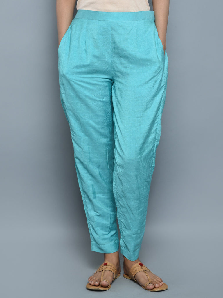 Firozi Chanderi Cotton Pants