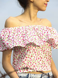 Floral Pink Green Off Shoulder Cotton Top