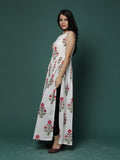 Off White Red Block Printed Side Slit Cotton Cape