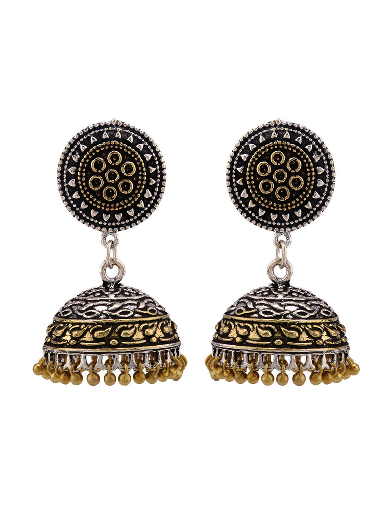 Floral Dual Plated  Jhumkies