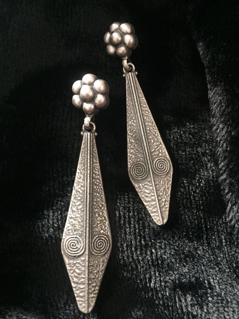 Flower Long Silver Earrings