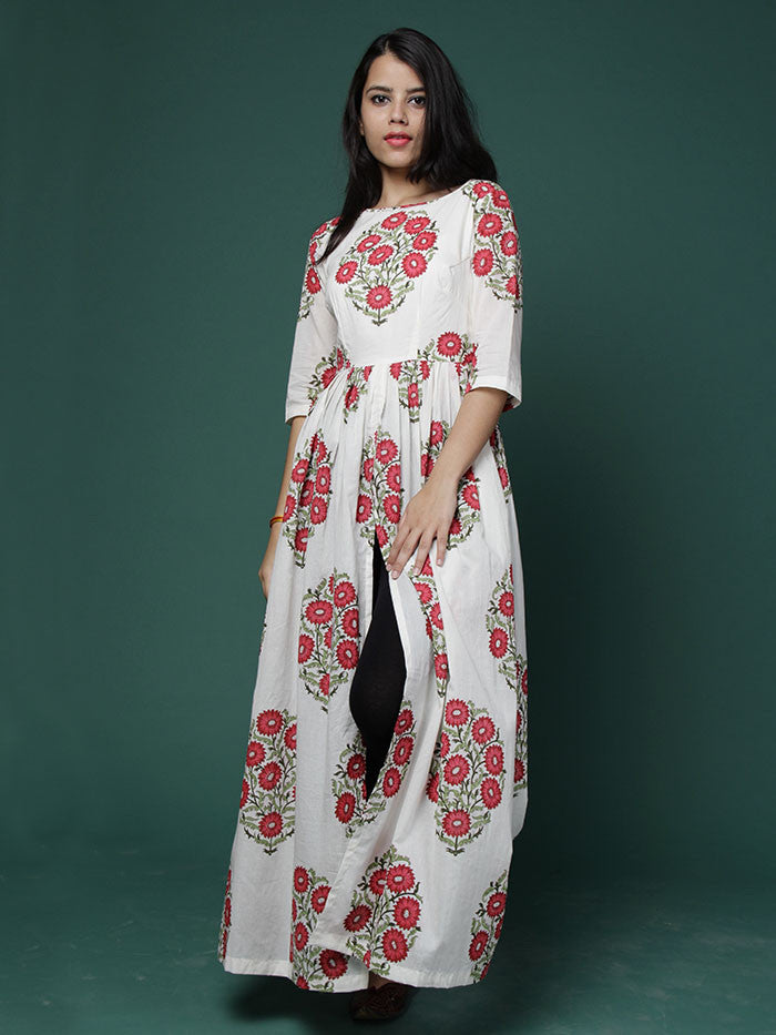 Off White Red Block Printed Cotton Cape