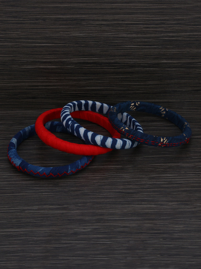 Red Indigo Cotton Fabric Bangles - Set of 4