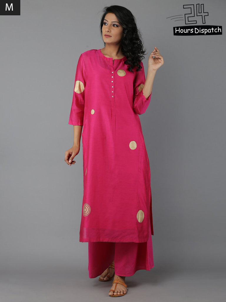 Fuchsia Pink Block Printed Chanderi Kurta with Cotton Slip