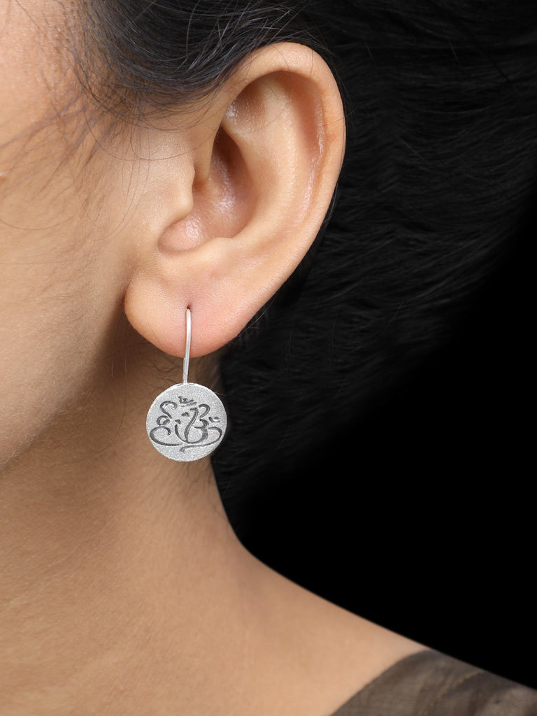 Ganesha Handcrafted Silver Earrings