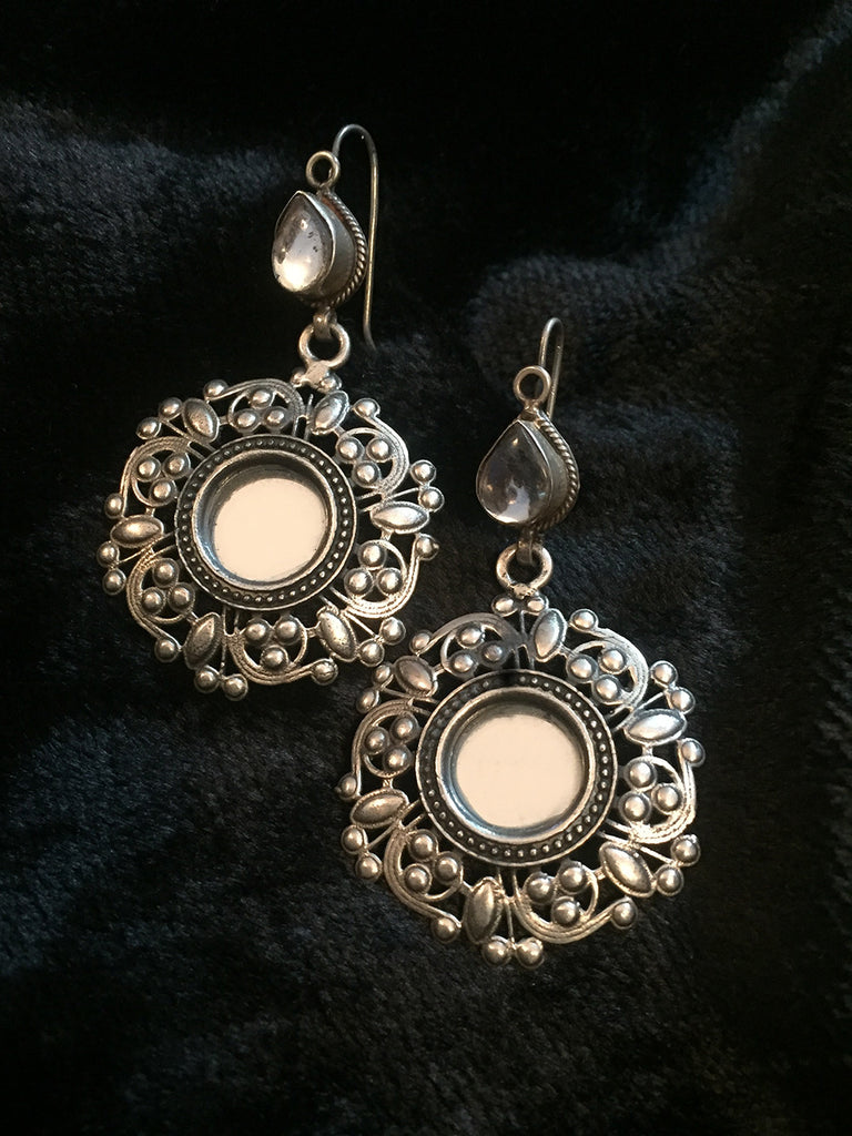 Glass and  Kundan Silver Earrings