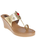 Gold Nude Handcrafted Leatherette Kolhapuris Wedges