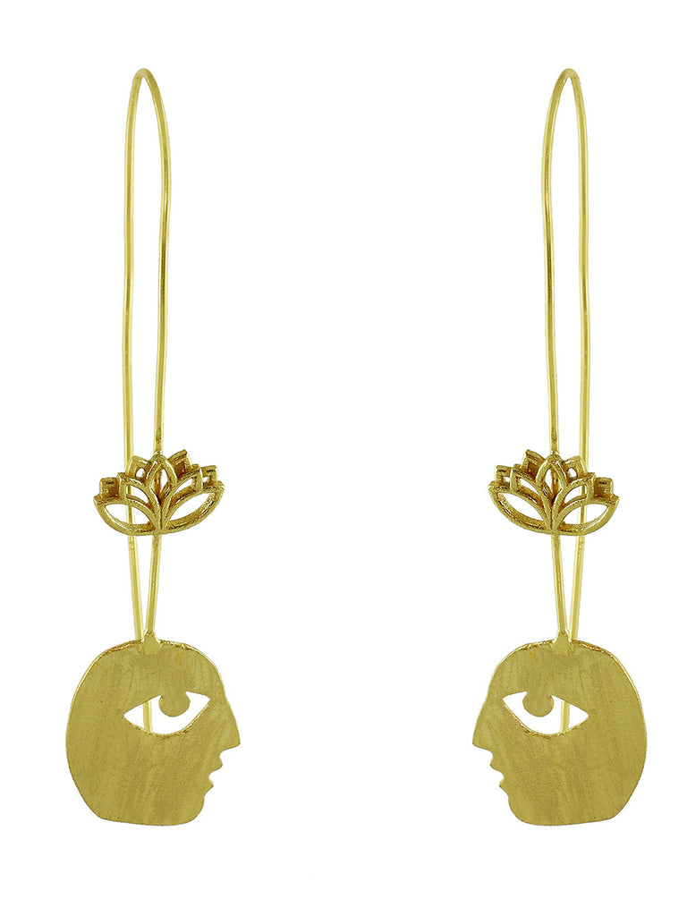 Gold Plated Bobo Lotus Earrings