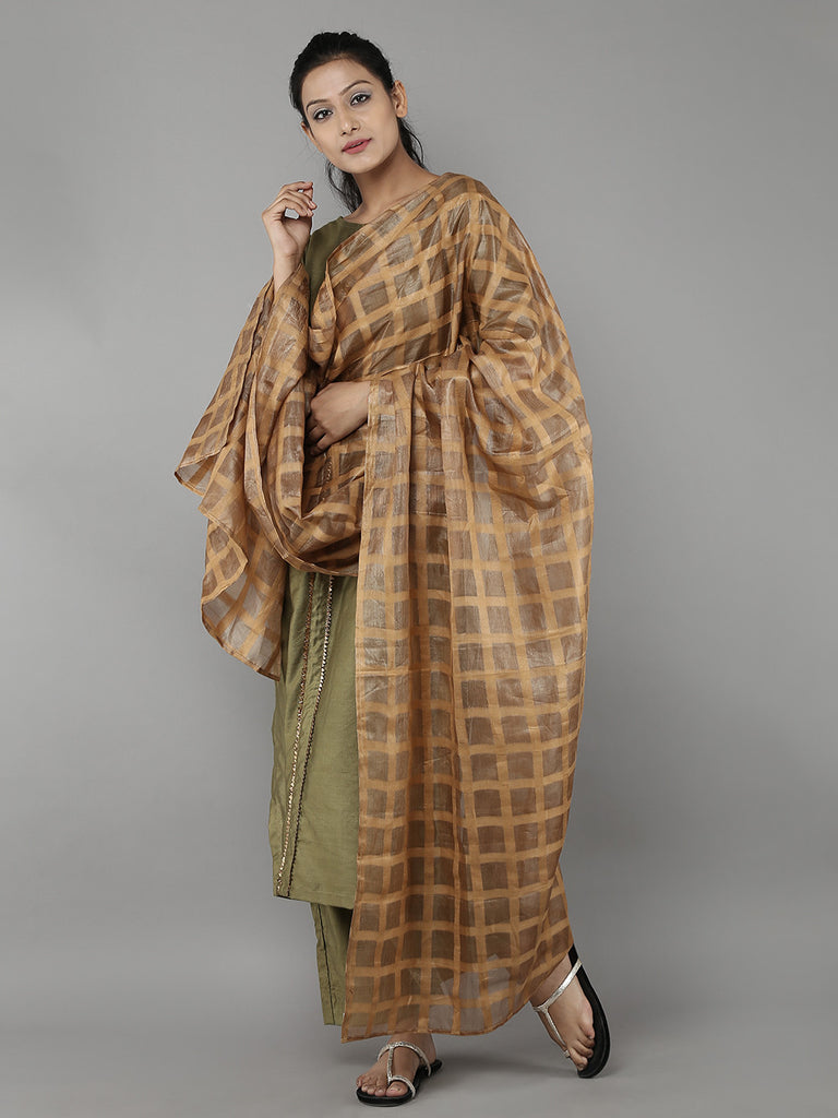 Golden Brown Tussar Silk Dupatta