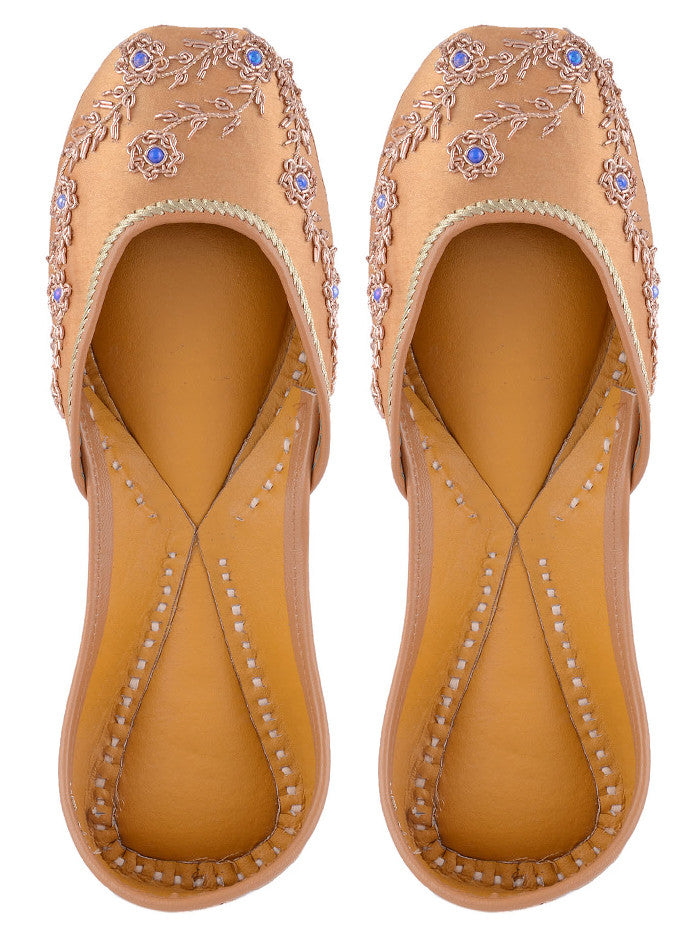 Golden Hand Embroidered Leather Mojari