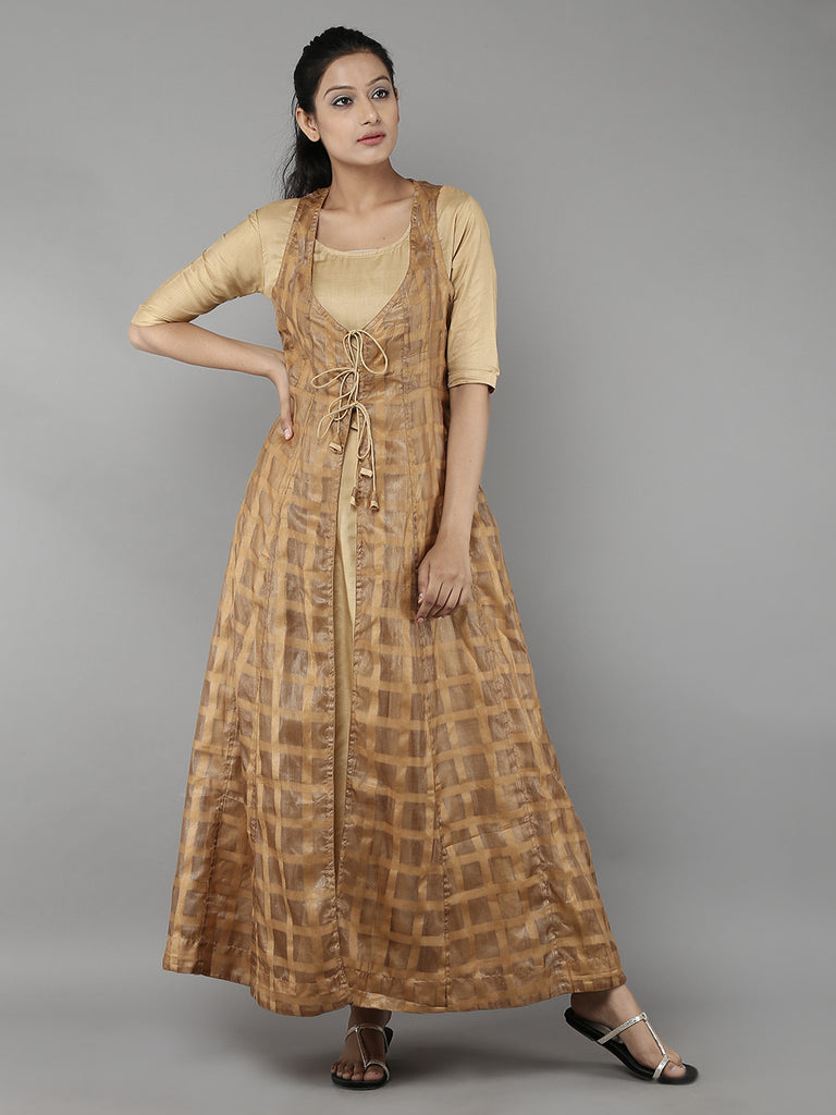 Golden Silk Gown with Tussar Silk Jacket - Set of 2
