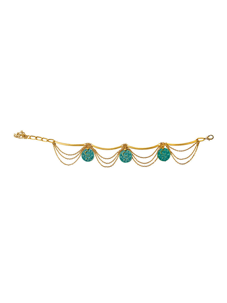 Golden Turquoise Coin Silver Anklet