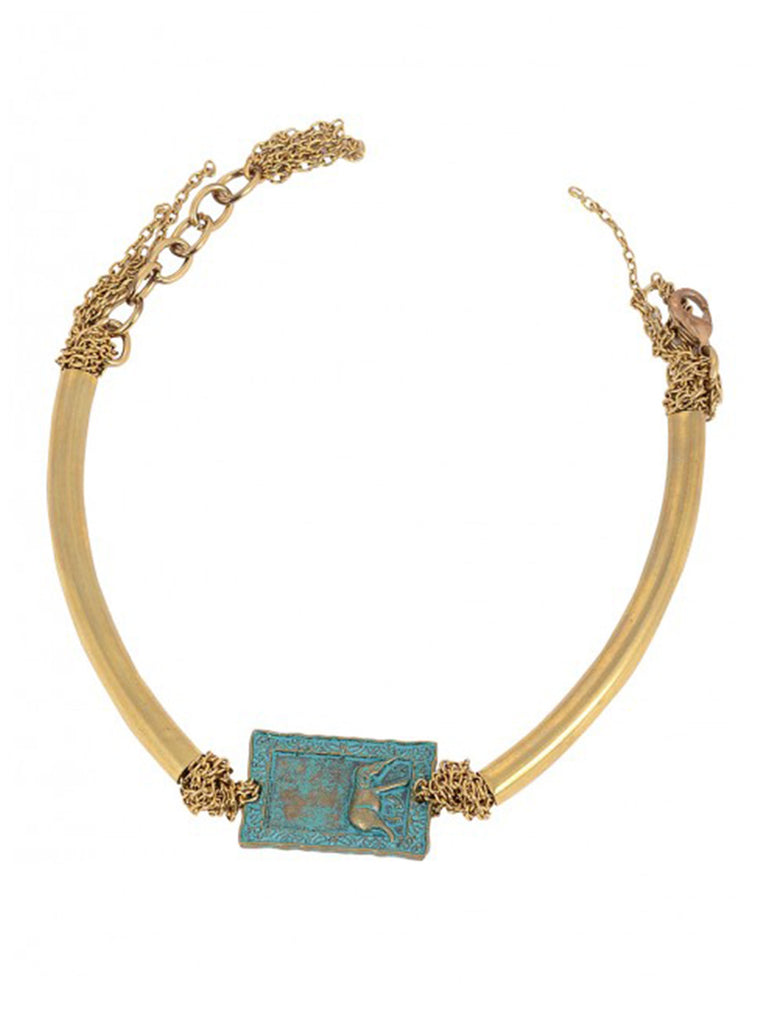 Golden Turquoise Elephant Silver Anklet