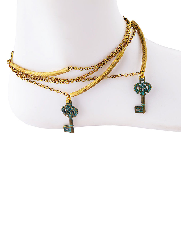 Golden Turquoise Key Silver Anklet