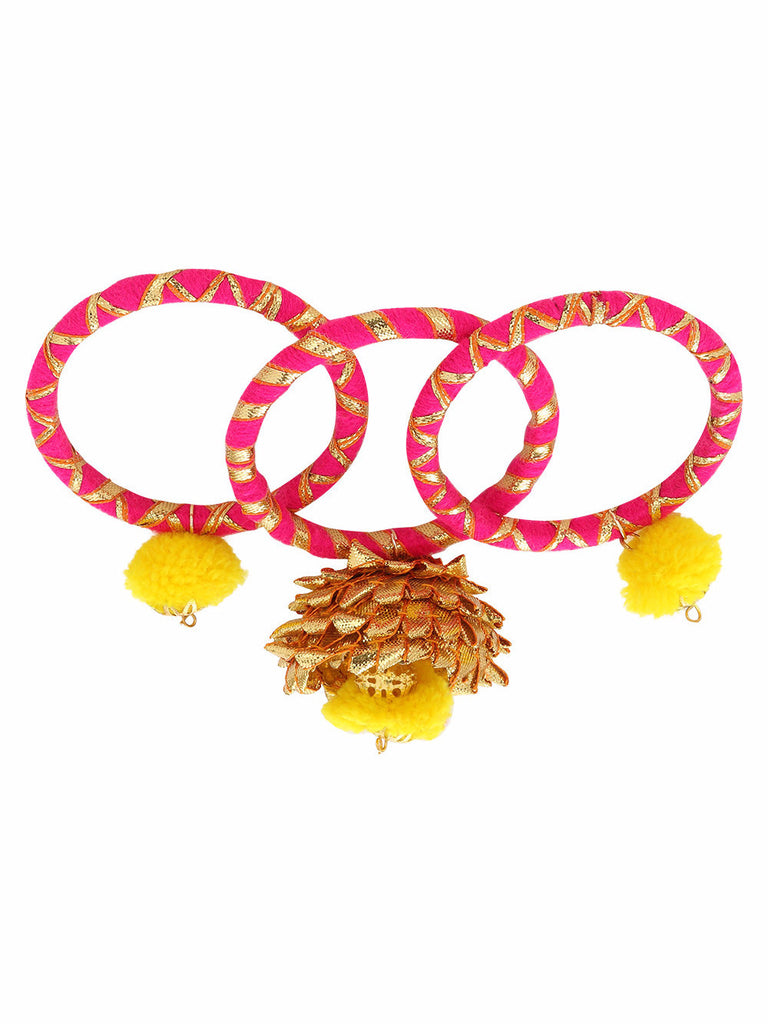 Golden-Pink-Yellow Gota Bangles