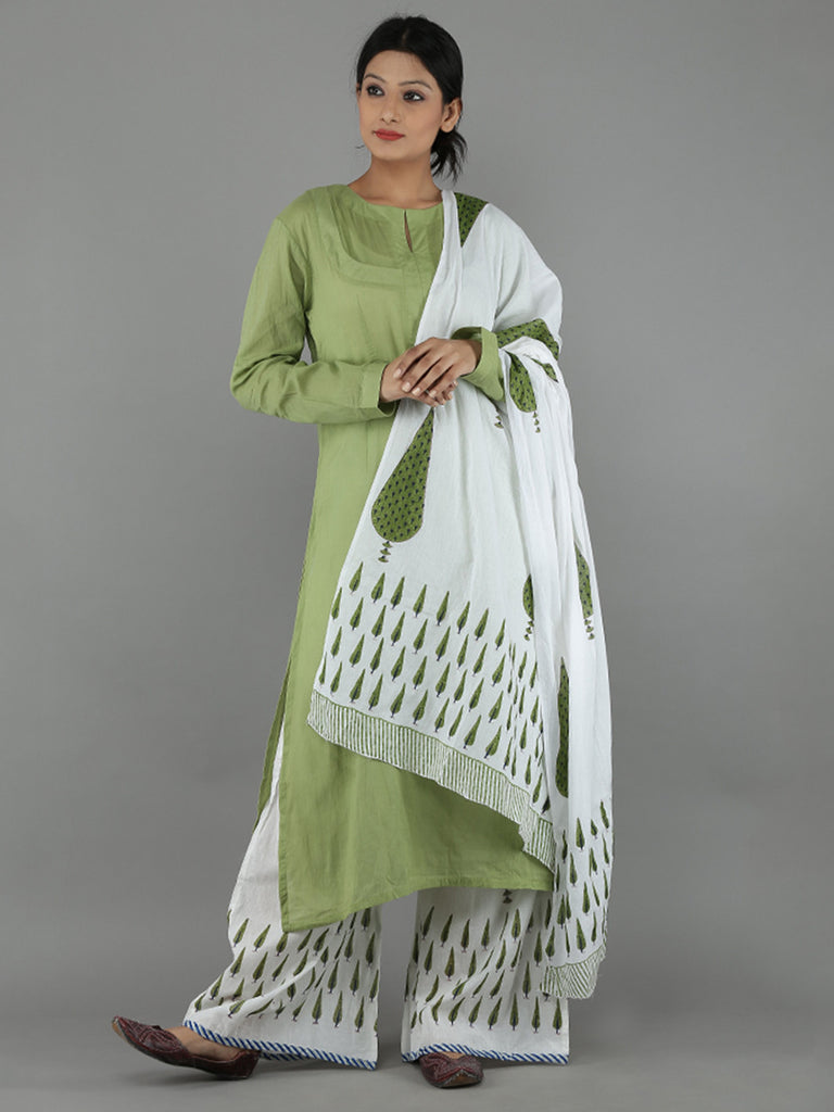 Green White Mulmul Cotton Suit - Set of 3
