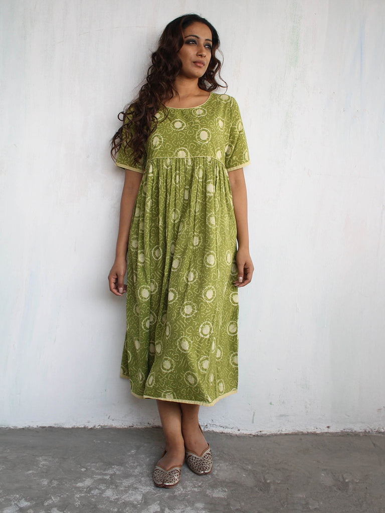 Green Cotton Bagru Hand Block Printed Flared Dress
