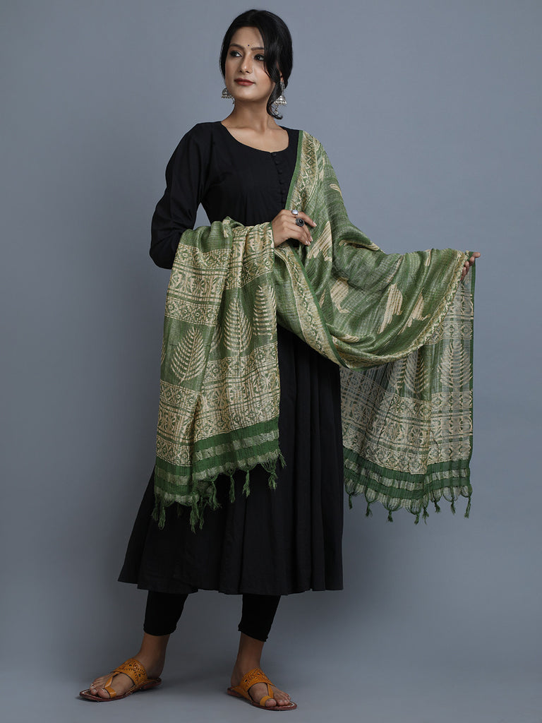 Green Beige Block Printed Silk Dupatta