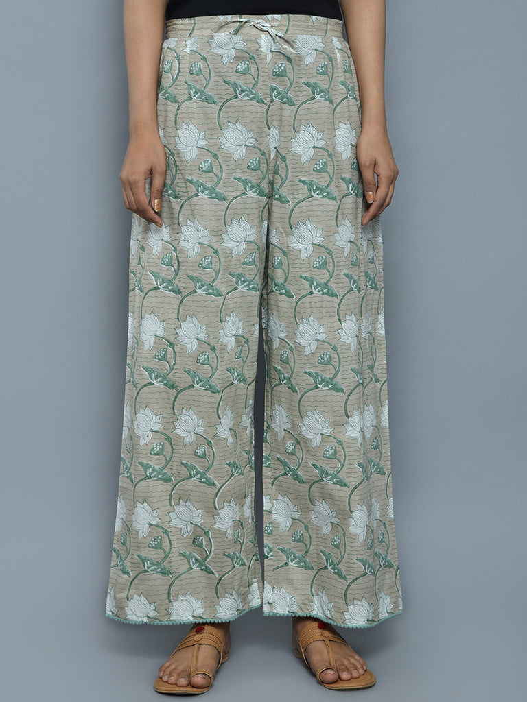 Green Beige Cotton Hand Block Printed Palazzo