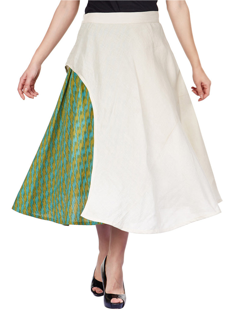 Green Beige Cotton Ikat Paneled Skirt