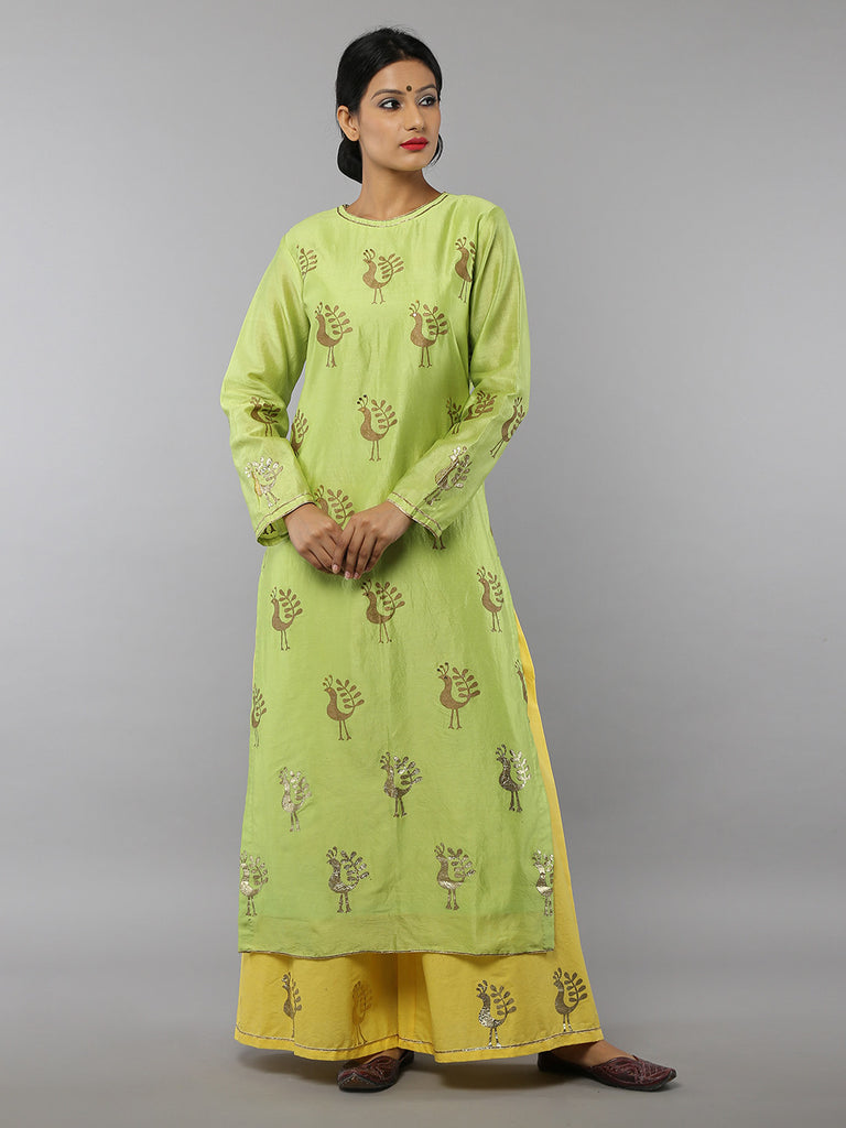Green Bird Foil Printed Chanderi Kurta with Yellow Cotton Palazzo - Set of 2