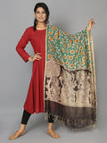 Green Black Chanderi Hand Painted Kalamkari Dupatta