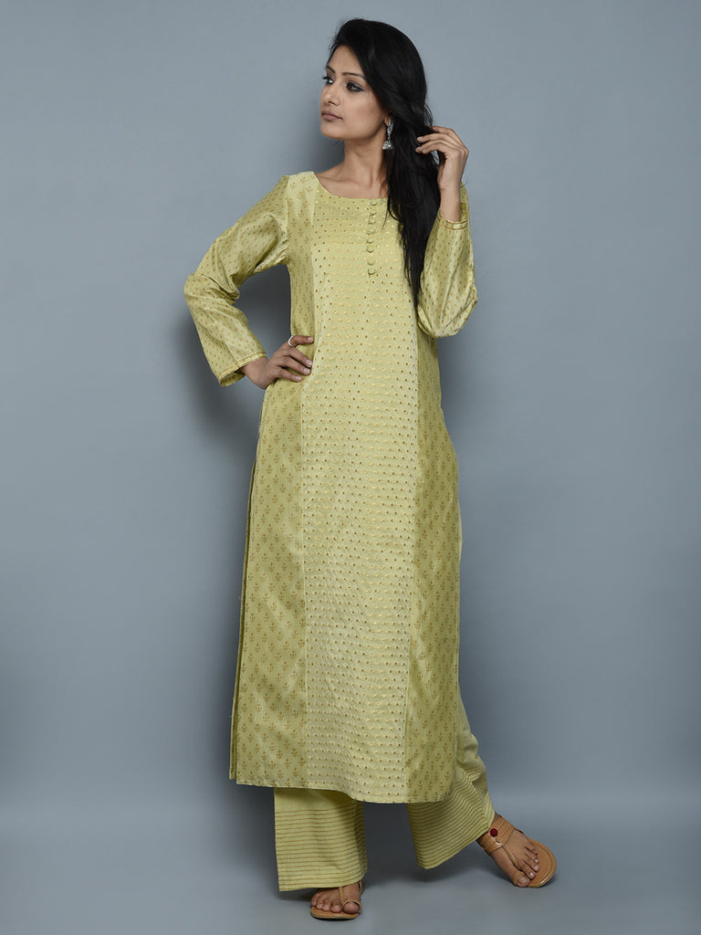 Green Block Printed Chanderi Kurta