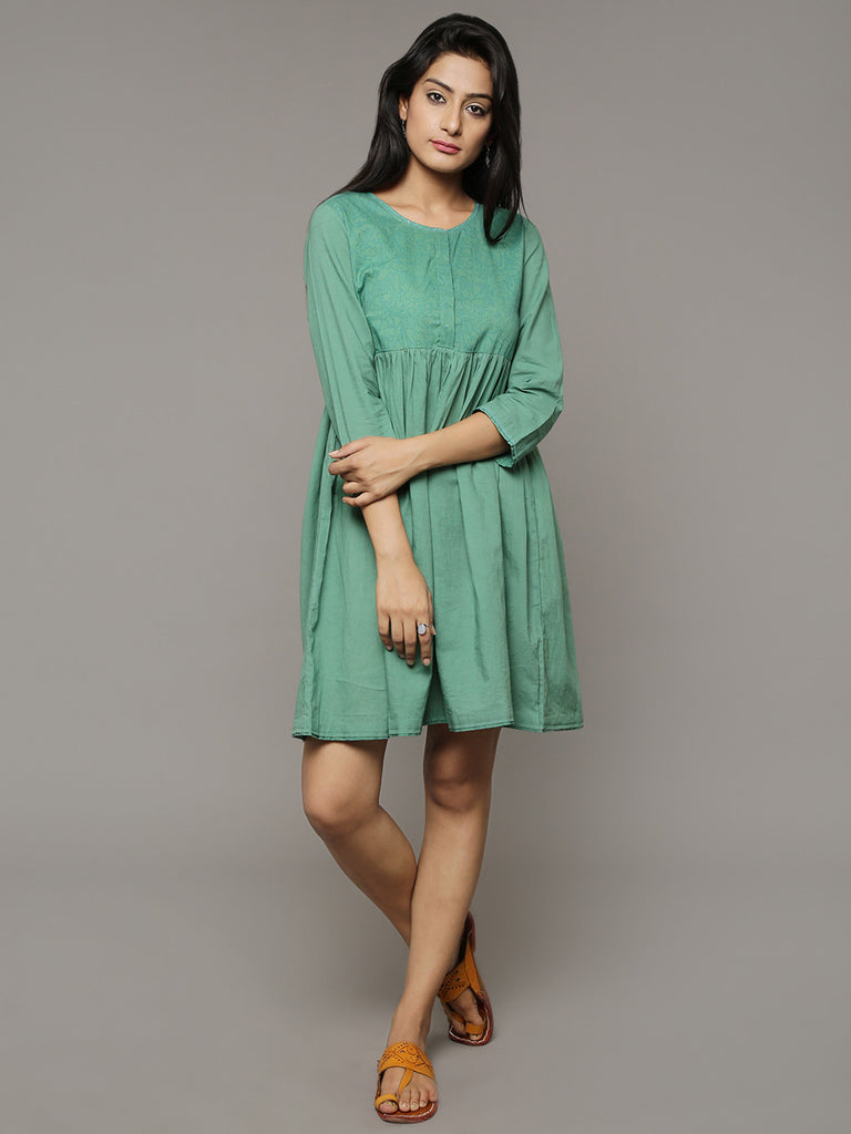 Green Block Printed Cotton Dress