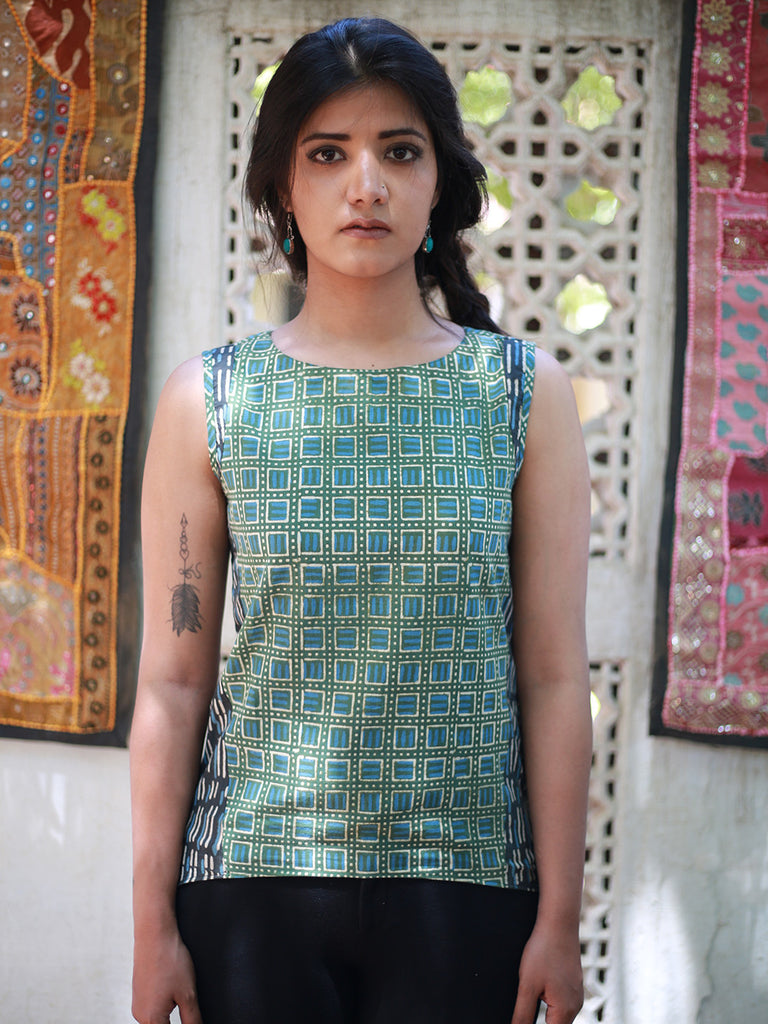 Green Block Printed Cotton High Low Top