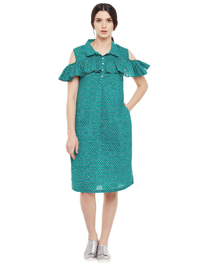 Green Block Printed Cotton Shirt Dress
