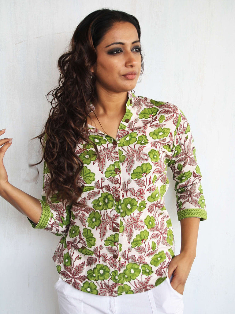 Green Pink  Cotton Hand Block Printed Floral Shirt