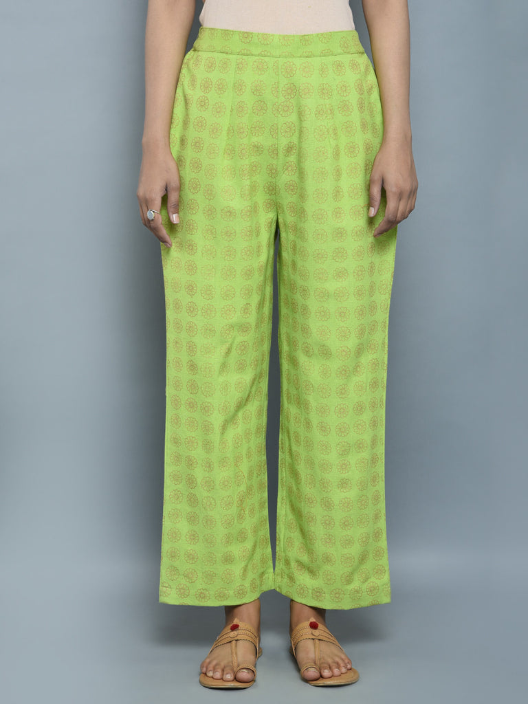 Green Golden Block Printed Khadi Pants