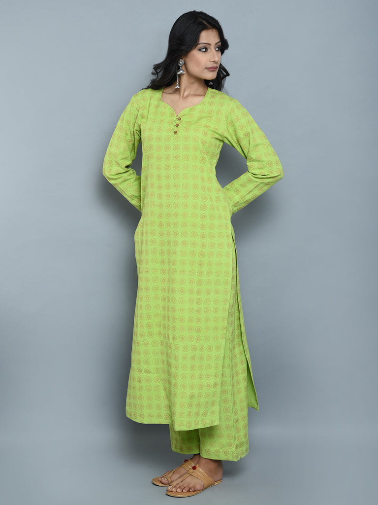 Green Gold Block Printed Khadi Kurta