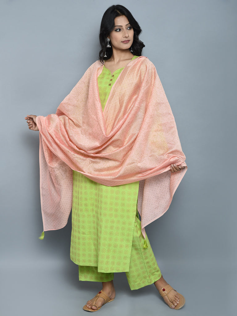 Green Block Printed Khadi Kurta and Pants with Peach Chanderi Dupatta - Set of 3