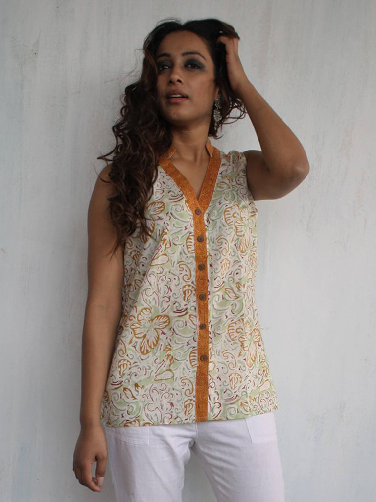 Mustard Brown Hand Block Printed Sleeveless Cotton Top