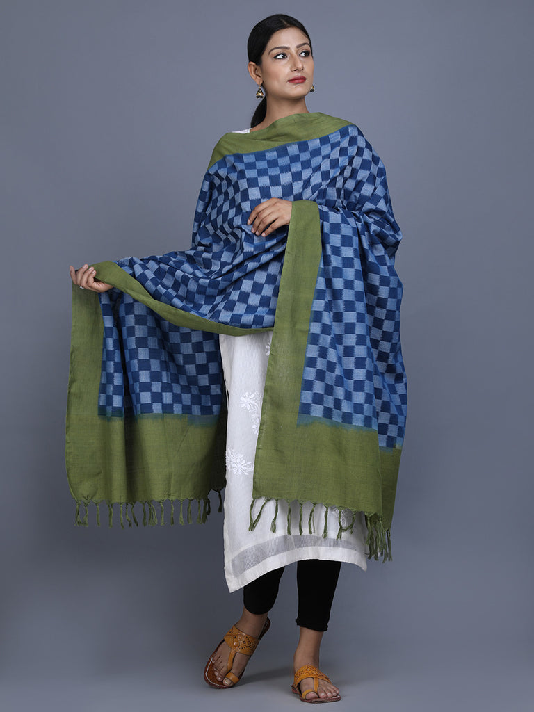 Green Blue Cotton Ikat Dupatta