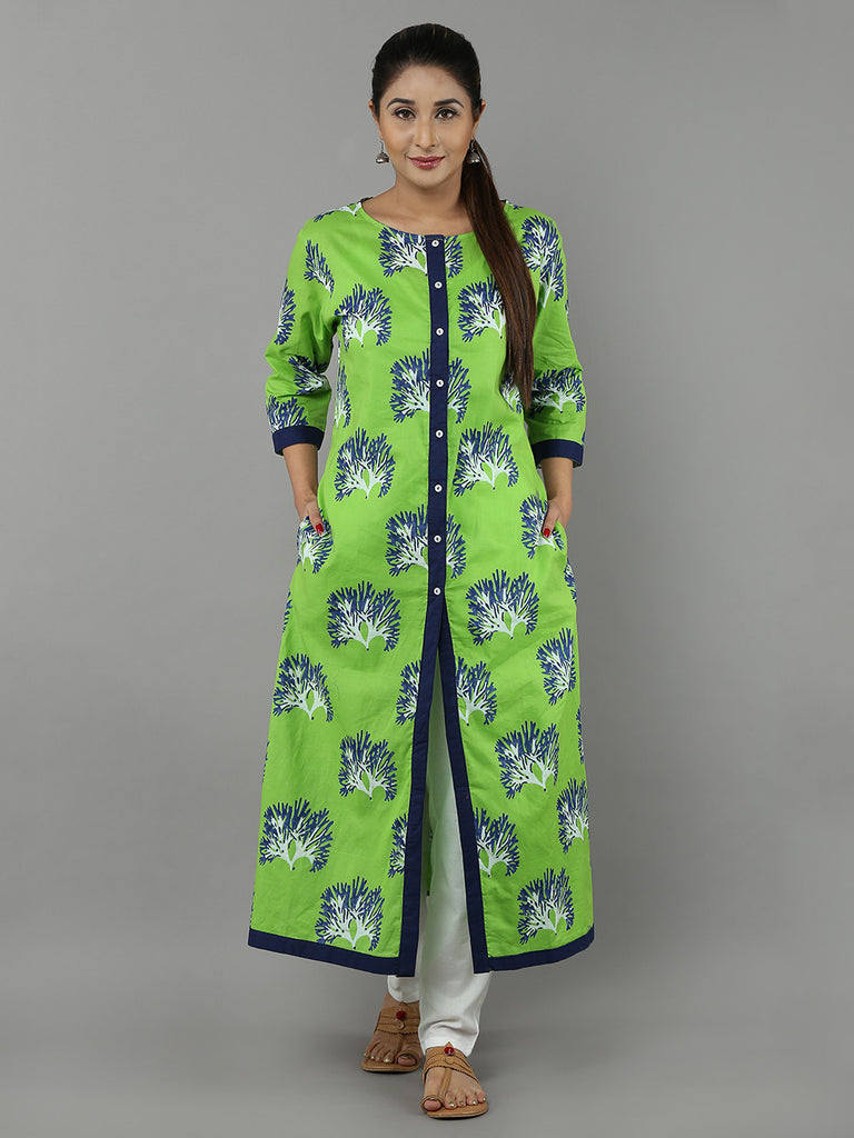 Green Blue Hand Block Printed Cotton Kurta